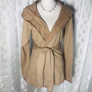 Lucky Brand Medium Hooded Open Front Cardigan